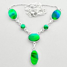 21.40cts fine northern lights aurora opal emerald oval silver necklace t45248