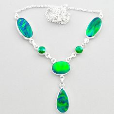 22.09cts fine northern lights aurora opal emerald oval silver necklace t45251