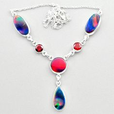 23.44cts fine volcano aurora opal garnet 925 sterling silver necklace t45252