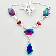 22.46cts fine volcano aurora opal garnet 925 sterling silver necklace t45253