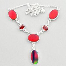 22.46cts fine volcano aurora opal garnet 925 sterling silver necklace t45255