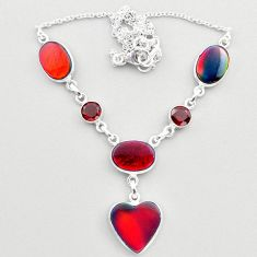 22.84cts fine volcano aurora opal garnet 925 sterling silver necklace t45259