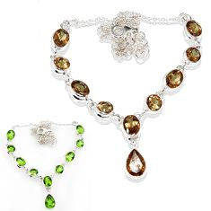 Clearance Sale- 19.34cts green alexandrite (lab) 925 sterling silver necklace jewelry d44521