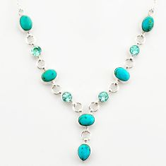 17.87cts green arizona mohave turquoise blue topaz 925 silver necklace r27562