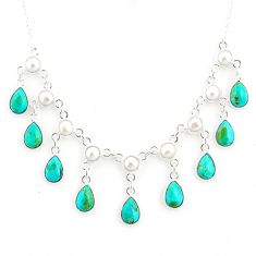 21.47cts green arizona mohave turquoise pearl 925 silver necklace r77384