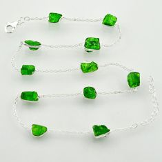 26.50cts green chrome diopside rough 925 sterling silver chain necklace r31507