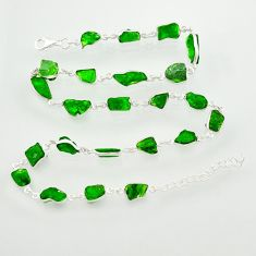 58.43cts green chrome diopside rough 925 sterling silver chain necklace r31509