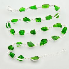 57.79cts green chrome diopside rough 925 sterling silver chain necklace r31510