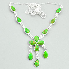 19.99cts green copper turquoise 925 silver necklace jewelry t34111