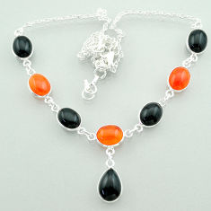 Clearance Sale- 31.99cts halloween natural black onyx cornelian 925 silver necklace t57610