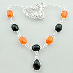 32.65cts halloween natural onyx cornelian (carnelian) 925 silver necklace t57616