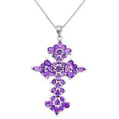 13.08cts holy cross natural purple amethyst 925 sterling silver necklace c26694