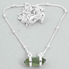 4.63cts labradorite 925 silver healing double pointer necklace t34071