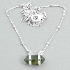 4.84cts labradorite 925 silver healing double pointer necklace t34095