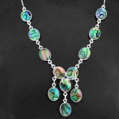 28.68cts natural abalone paua seashell 925 sterling silver necklace r94106