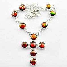 34.52cts natural ammolite (canadian) 925 silver cross handmade necklace t45336