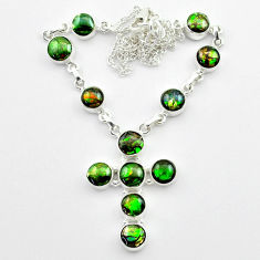34.03cts natural ammolite (canadian) 925 silver cross handmade necklace t45337
