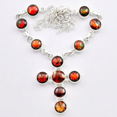 34.96cts natural ammolite (canadian) 925 silver cross handmade necklace t45340