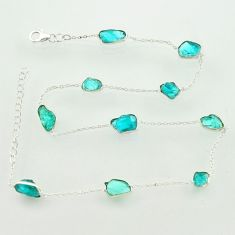 25.19cts natural aqua aquamarine rough 925 sterling silver chain necklace r31514