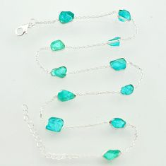 25.19cts natural aqua aquamarine rough 925 sterling silver chain necklace r31515