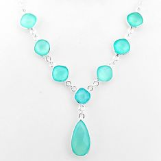 25.15cts natural aqua chalcedony 925 sterling silver necklace jewelry t16175