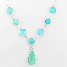 26.20cts natural aqua chalcedony 925 sterling silver necklace jewelry t16178