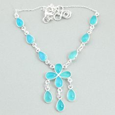 22.02cts natural aqua chalcedony 925 silver necklace jewelry t34109