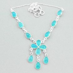 21.48cts natural aqua chalcedony 925 silver necklace jewelry t34130