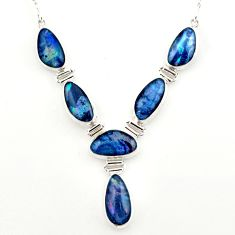 39.96cts natural blue australian opal triplet 925 silver necklace r27481