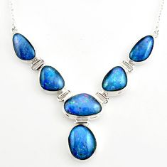 43.49cts natural blue australian opal triplet 925 silver necklace r27494
