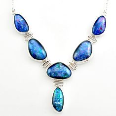 45.24cts natural blue australian opal triplet 925 silver necklace r27497