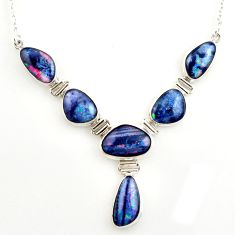 41.86cts natural blue australian opal triplet fancy 925 silver necklace r27489
