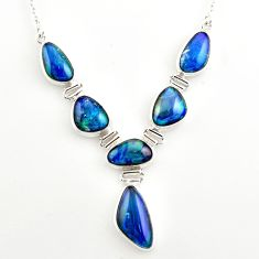 41.86cts natural blue australian opal triplet fancy 925 silver necklace r27490