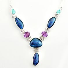 40.81cts natural blue australian opal triplet topaz 925 silver necklace r27485