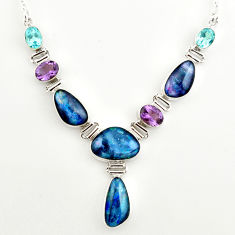 42.35cts natural blue australian opal triplet topaz 925 silver necklace r27486