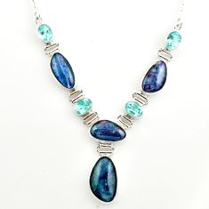 42.29cts natural blue australian opal triplet topaz 925 silver necklace r27488