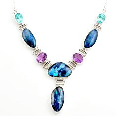 42.35cts natural blue australian opal triplet topaz 925 silver necklace r27493