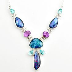 44.61cts natural blue australian opal triplet topaz 925 silver necklace r27496