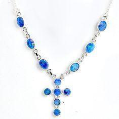 11.86cts natural blue doublet opal australian 925 silver cross necklace r56139