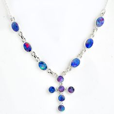 12.39cts natural blue doublet opal australian 925 silver cross necklace r56140