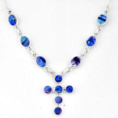 12.17cts natural blue doublet opal australian 925 silver cross necklace r56151