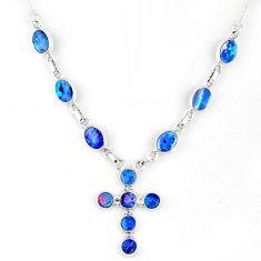12.19cts natural blue doublet opal australian 925 silver cross necklace r56152