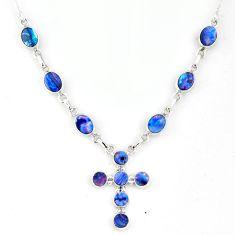 12.19cts natural blue doublet opal australian 925 silver cross necklace r56153