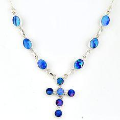 11.86cts natural blue doublet opal australian 925 silver cross necklace r56156
