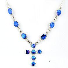 11.95cts natural blue doublet opal australian 925 silver cross necklace r56158