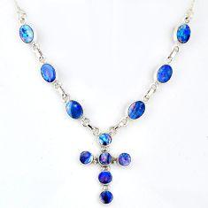 12.17cts natural blue doublet opal australian 925 silver cross necklace r56160