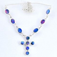 13.82cts natural blue doublet opal australian 925 silver cross necklace r58705