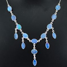 25.65cts natural blue doublet opal australian 925 silver necklace jewelry r94029