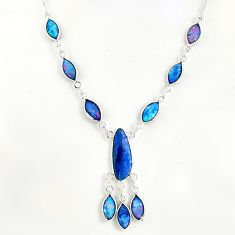 20.45cts natural blue doublet opal australian 925 silver necklace r49415