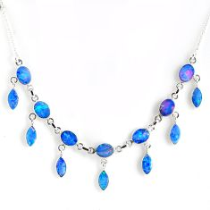 25.94cts natural blue doublet opal australian 925 silver necklace r56121